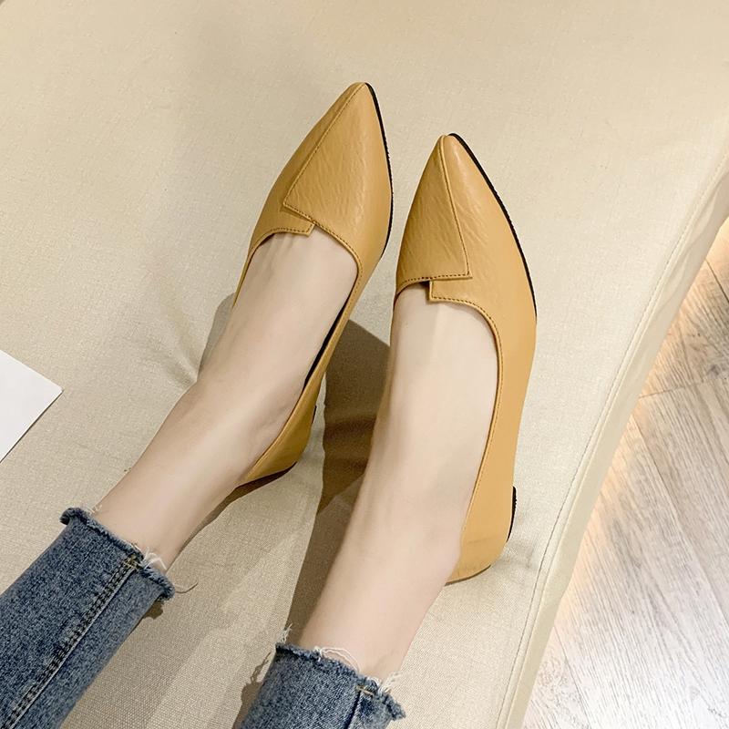 Giày da nữ mũi nhọn thời trang phong cách