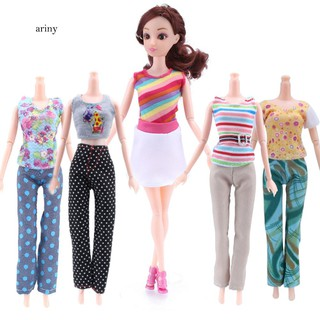 ♞5 Tops + 5 Pants Girl Gift Casual Summer Clothes Outfit Doll Accessories