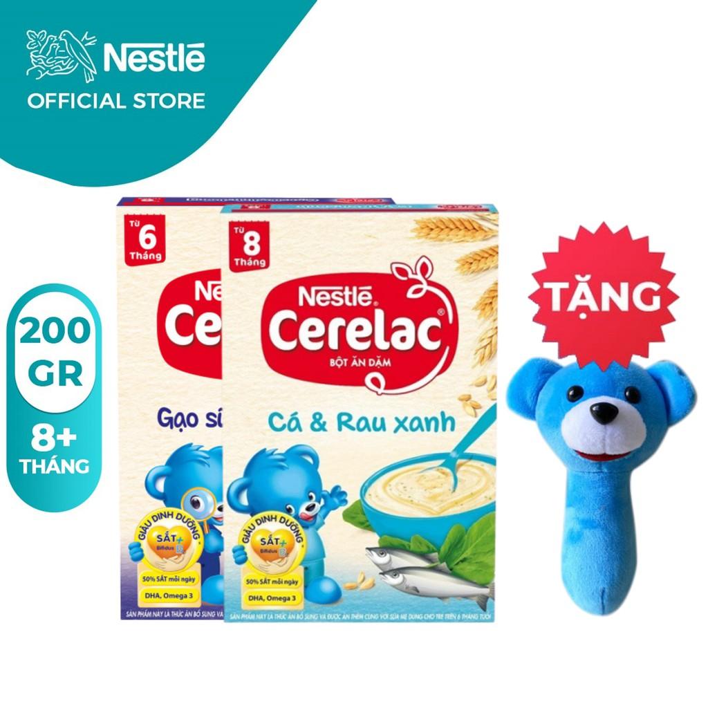 Combo 2 Hộp Bột Ăn Dặm Nestlé Cerelac Gạo Sữa Và Cá Rau Xanh 200g/Hộp