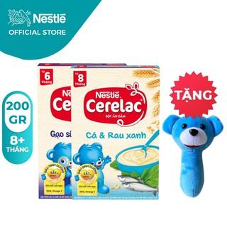 [Tặng Lục Lạc Gấu Cầm Tay] Combo 2 Hộp Bột Ăn Dặm Nestlé Cerelac Gạo Sữa Và Cá Rau Xanh 200g Hộp thumbnail