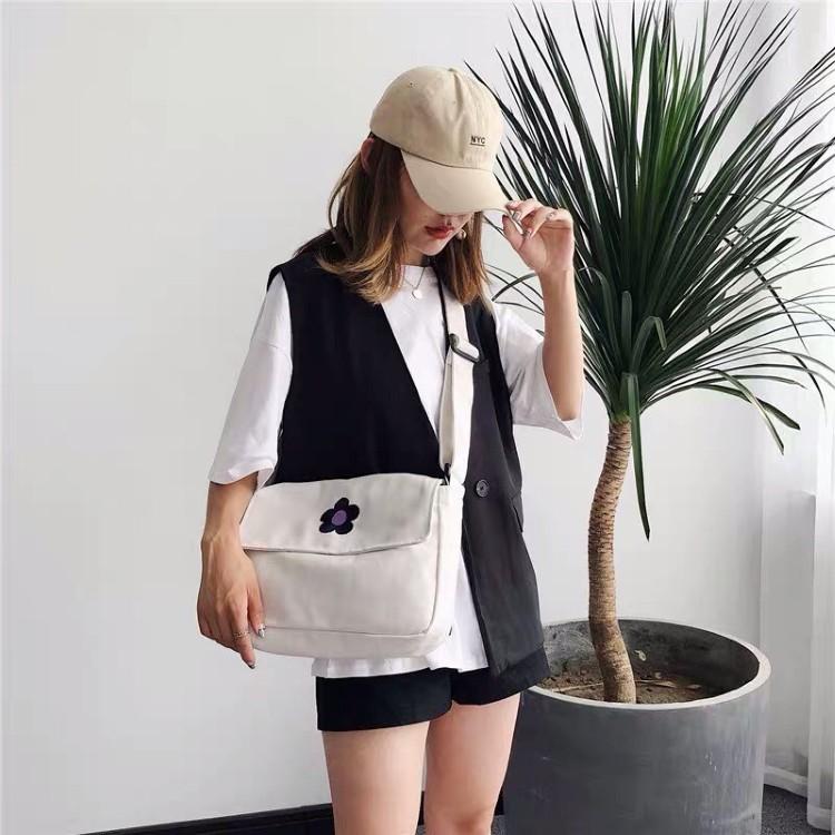 Túi vải đeo chéo canvas đựng đồ đi học đi chơi phong cách Hàn Quốc cao cấp ZIMI