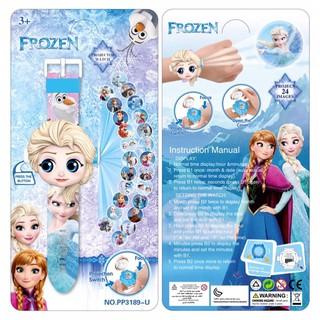 Đồng hồ điện tử chiếu 24 hình 3D công chúa elsa cho bé