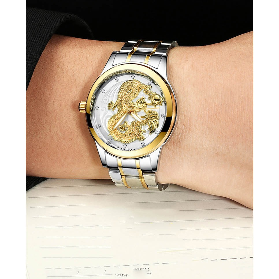 Đồng hồ nam mặt rồng FNGEEN S666 dây kim loại
