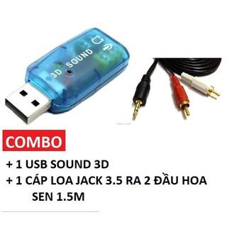[Mã ELORDER5 giảm 10k đơn 20k] Combo USB Sound Card cho máy tính Laptop kèm cáp Loa hoa sen