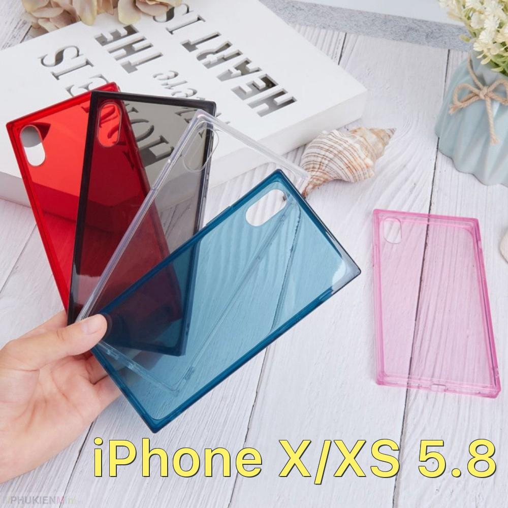 Ốp lưng vuông dẻo màu trong suốt chống sốc 4 góc cho iPhone X/XS 5.8 giá rẻ