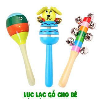 Combo 3 Lục Lạc Gỗ Cầm Tay Cho Bé