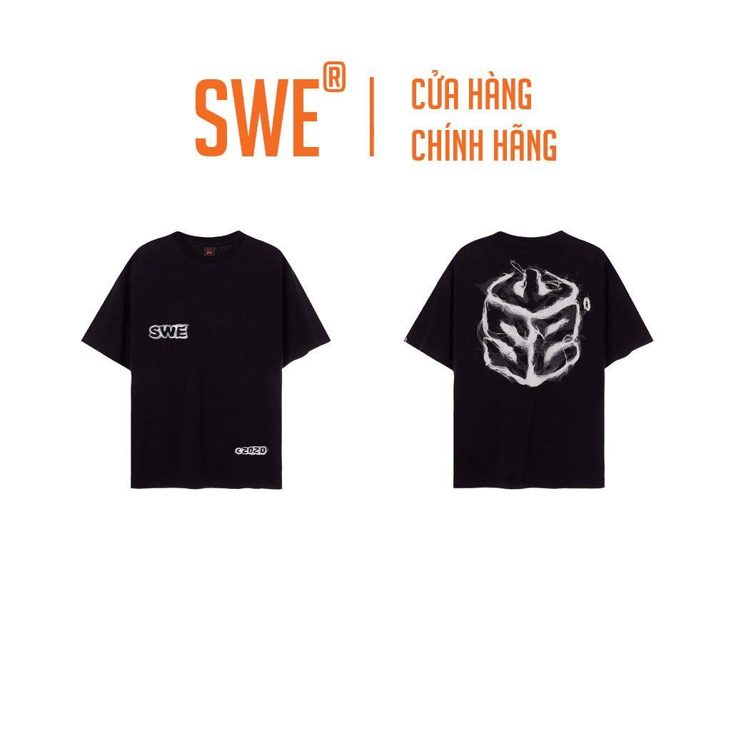 [Full Tag Hãng] Áo thun Swe local brand chính hãng tee smoke logo unisex tay lỡ cổ tròn streetwear form rộng