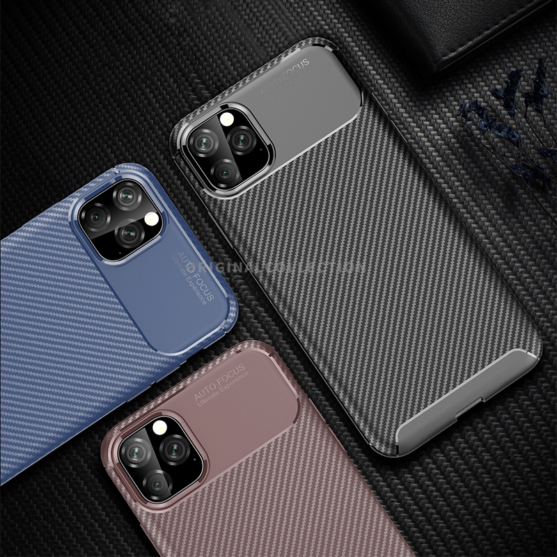 IPhone 11 Silicone Phone Case for IPhone 11 Pro Max 2019 Carbon Fiber Protective Cover for IPhone XR X XS Max