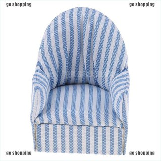 {go shopping}1:12 dollhouse miniature furniture stripe sofa chair for bed room living room