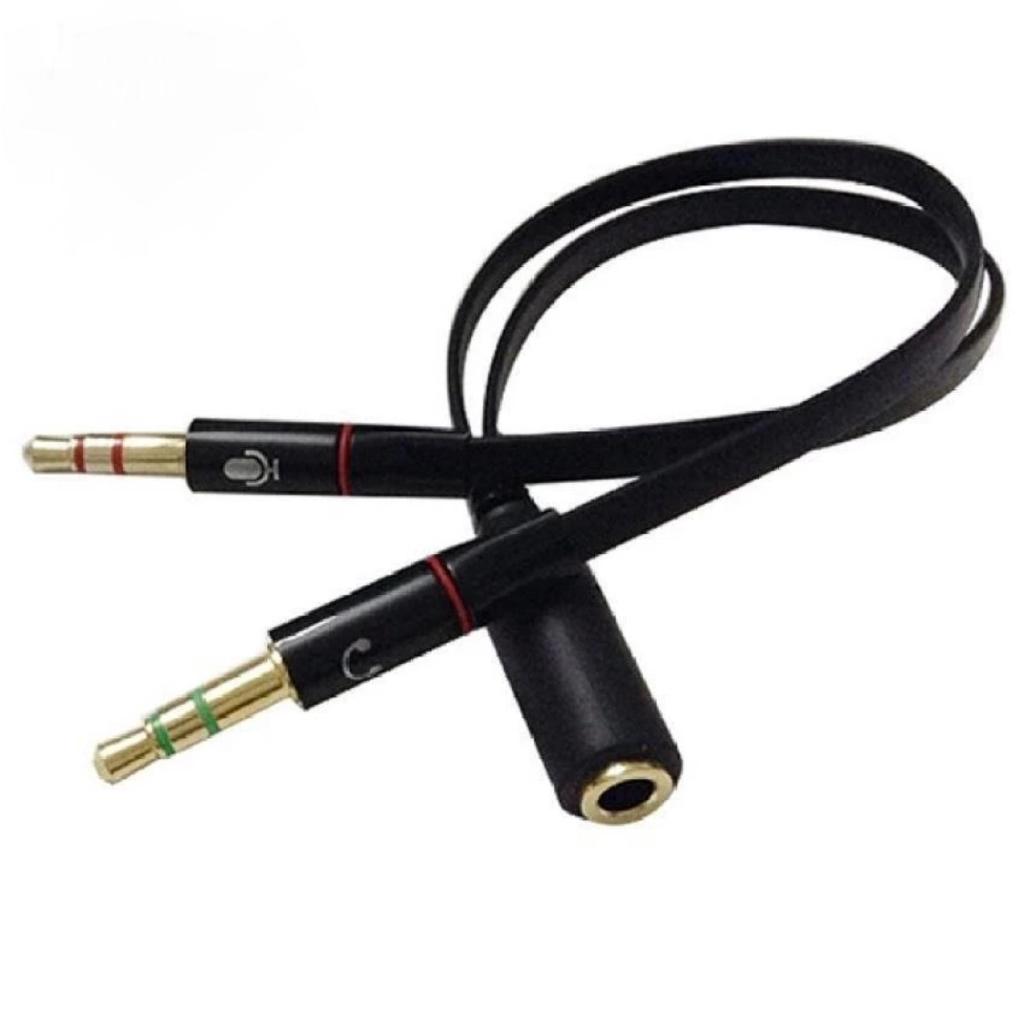 Bộ gộp âm thanh và Mic sang cổng 3.5 đầy đủ -dc2520 đen