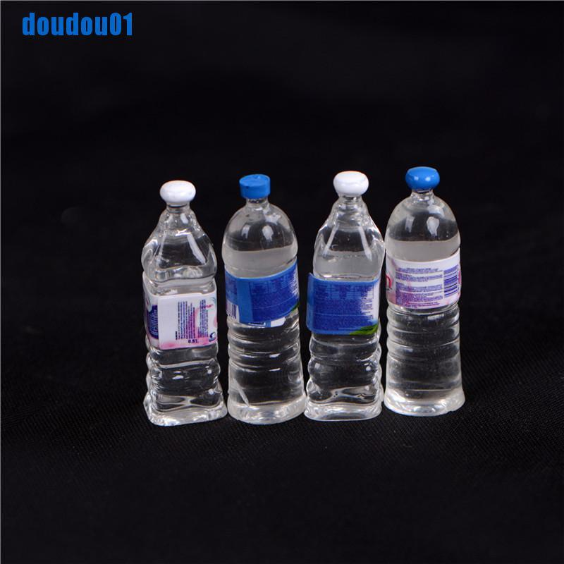 [dou] 4Pcs Dollhouse Miniature Bottled Mineral Water 1/6 1/12 Scale Model Home Decor [vn]