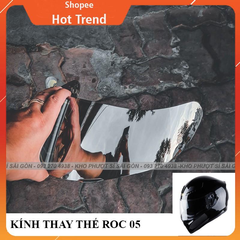 Kính thay thế bên ngoài của mũ bảo hiểm Fullface ROC05 - Kính tráng gương bạc của nón ROC 05 chính hãng