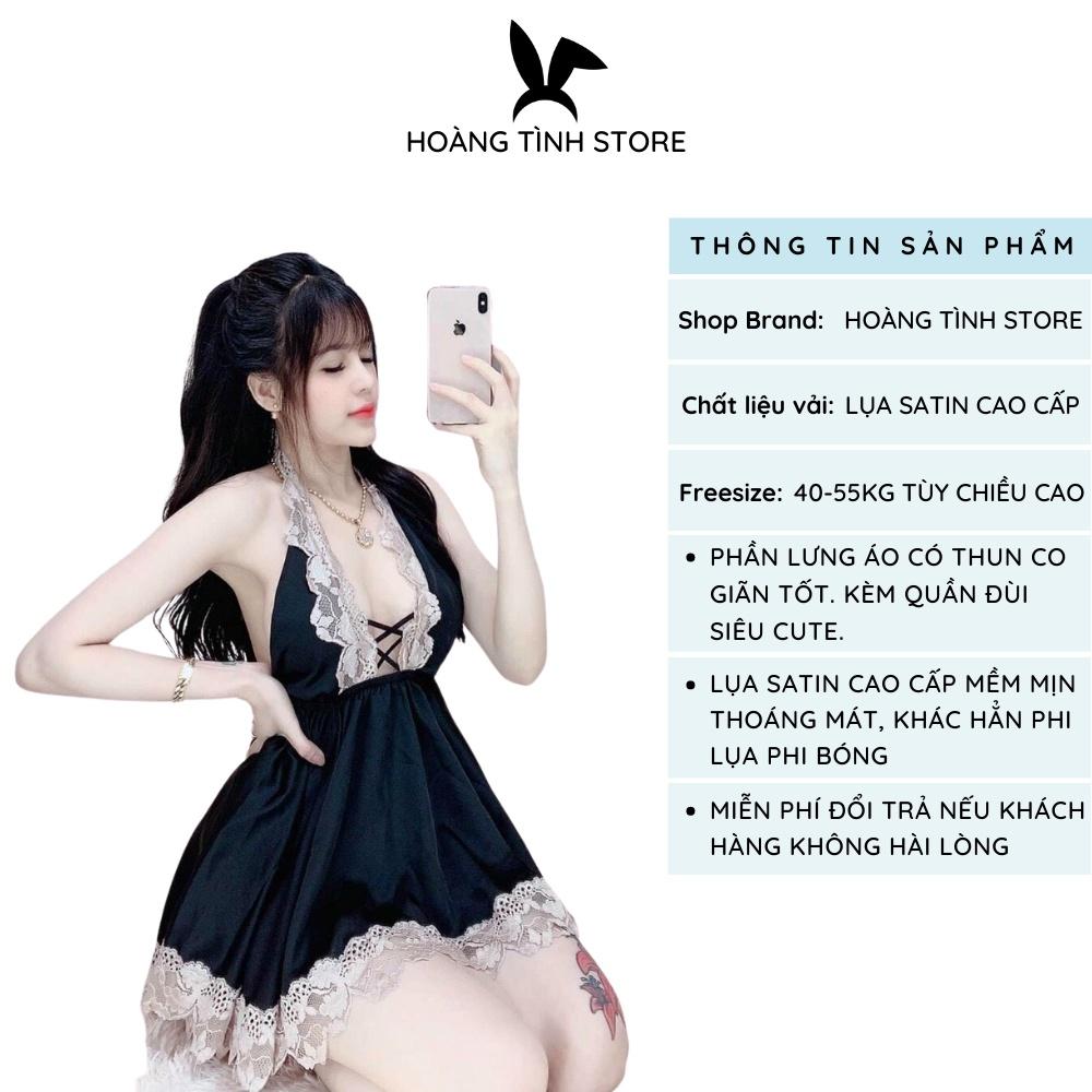Mặc gì đẹp: Thoải mái với Đồ ngủ sexy đan dây ngực Hoàng Tình Store, chất liệu lụa satin, kèm quần đùi siêu cute, freesize 40-55kg tùy chiều cao
