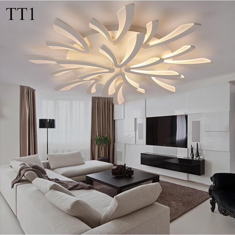 Đèn ốp trần đèn áp trần trang trí phòng khách phòng ngủ có kèm điều khiển từ xa phân tầng 3 chế độ sáng mẫu TT1