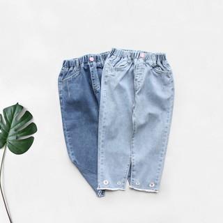 : Quần jean dài bé gái lai tua thêu hoa, size 13-45kg