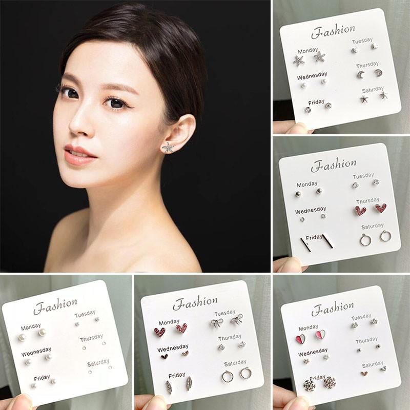 Set 6 hoa tai kiểu dáng đơn giản phong cách Hàn Quốc