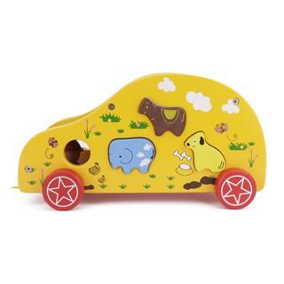 xe ô tô thả hình màu vàng 320| đồ chơi gỗ kidstoys | đồ chơi gỗ an toàn cho bé tại Hà Nội | xe kéo ô tô gỗ thả hình