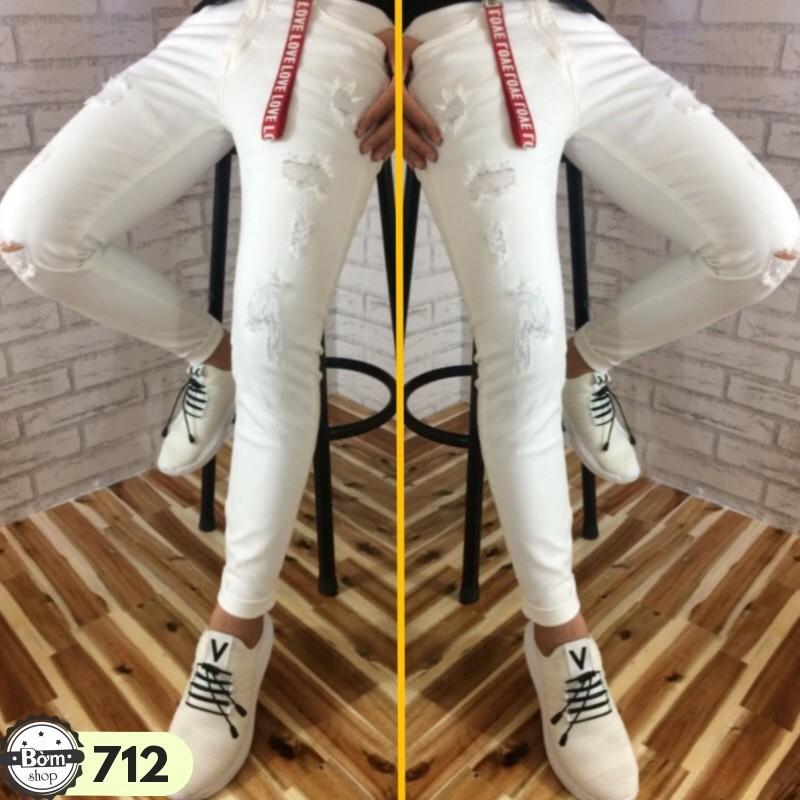Quần jean nam màu trắng wash rách gối co giãn phong cách Quần Jean