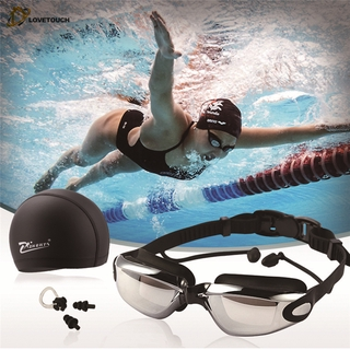 TU|Swim Goggles With Cap Nose Clip Ear Plug Adult Anti-Fog HD Mirrored Swimming Set