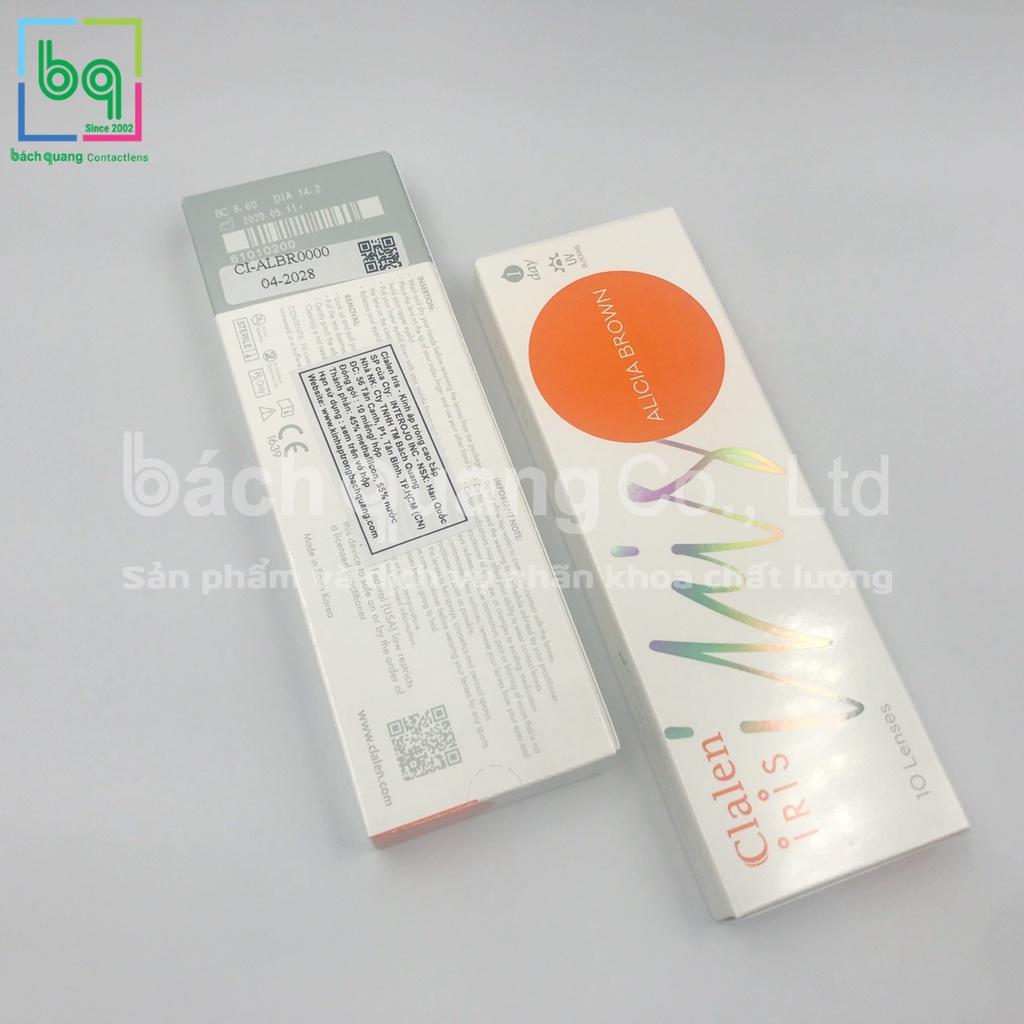 [5 cặp] Kính áp tròng màu ALICIA BROWN Hàn Quốc dùng 1 ngày Clalen Iris