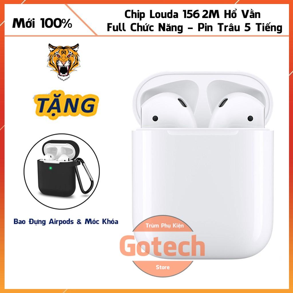 Tai nghe Bluetooth Airpod 2 Hổ Vằn Louda 1562M không dây 2021,pin cực trâu,mic đàm thoại sắc nét,định vị,đổi tên full