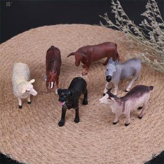 JS*6 simulated farm animal sheep dog horse donkey ox cow plaJSic model toys