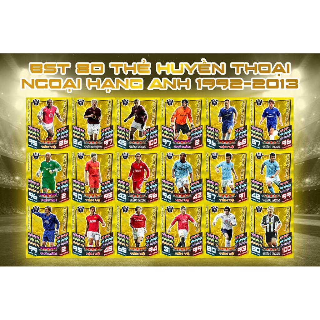 Bộ Sưu Tập 80 Thẻ In Match Attax Huyền Thoại Ngoại Hạng Anh 2012-13