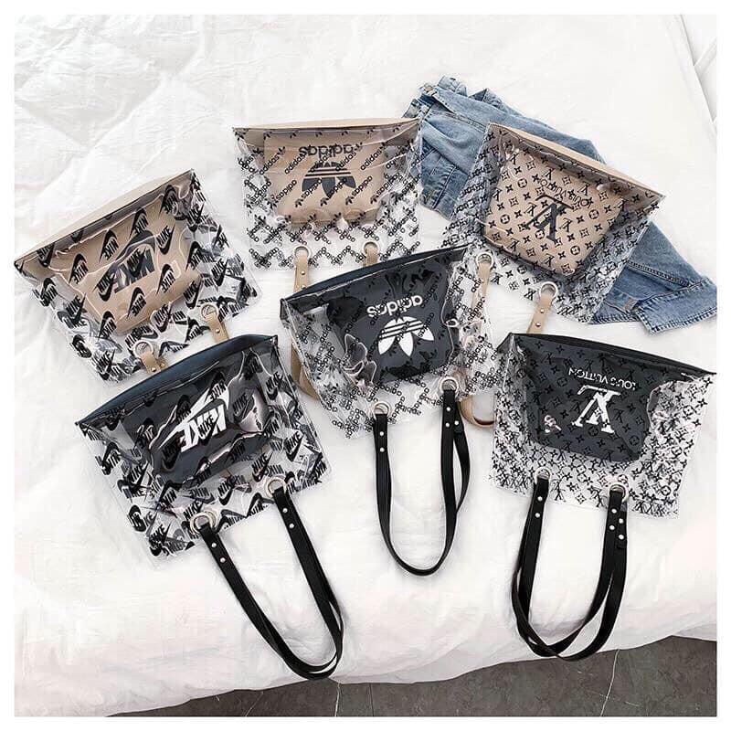 Set túi trong suốt thời trang 2 in 1 hot trend 2019