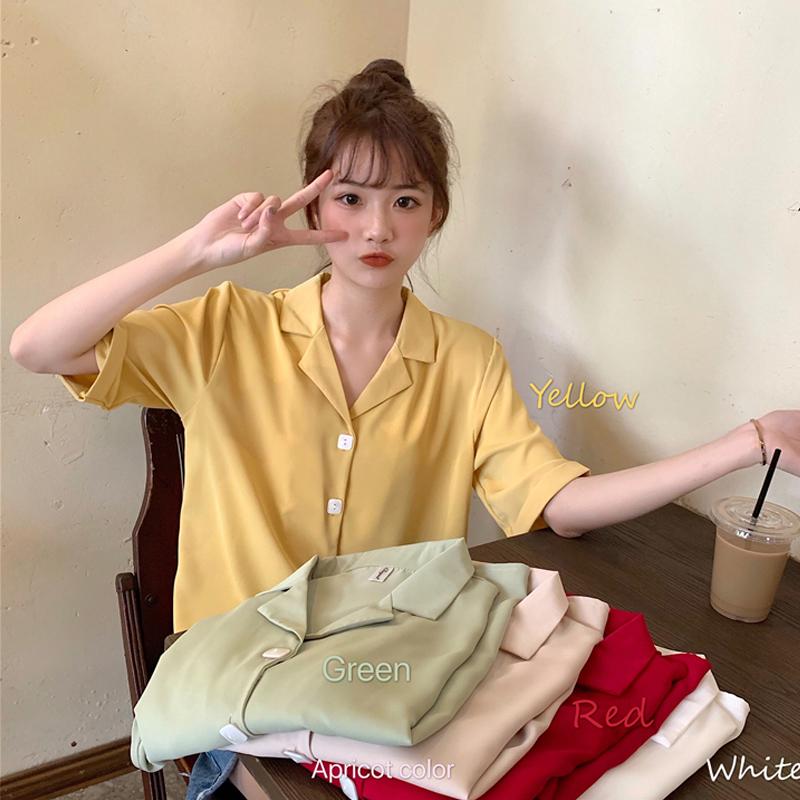 Áo Sơ Mi Nữ Tay Ngắn Cổ Polo Phong Cách Retro Hàn Quốc