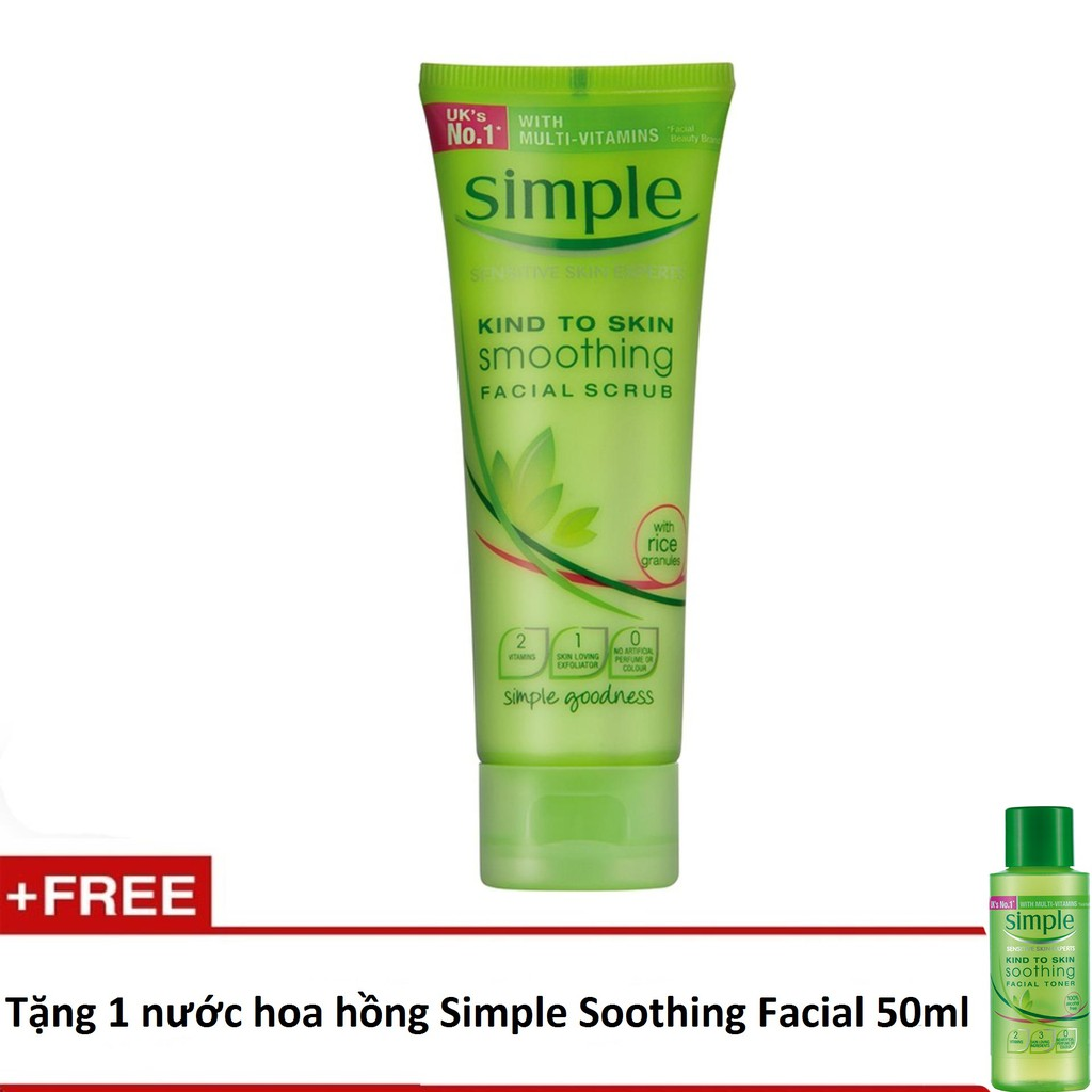 Sữa rửa mặt Simple Facial Scrub 75ml + tặng 1 nước hoa hồng Simple Soothing Facial 50ml - 3428594 , 1208293972 , 322_1208293972 , 99000 , Sua-rua-mat-Simple-Facial-Scrub-75ml-tang-1-nuoc-hoa-hong-Simple-Soothing-Facial-50ml-322_1208293972 , shopee.vn , Sữa rửa mặt Simple Facial Scrub 75ml + tặng 1 nước hoa hồng Simple Soothing Facial 50ml