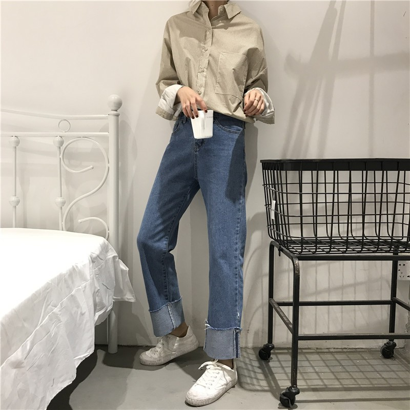 2018 Korean spring old version roll straight loose wide leg pants are thin wild