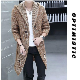 ﹍┋Autumn and winter long horn button sweater cardigan knitted windbreaker men s hooded jacket