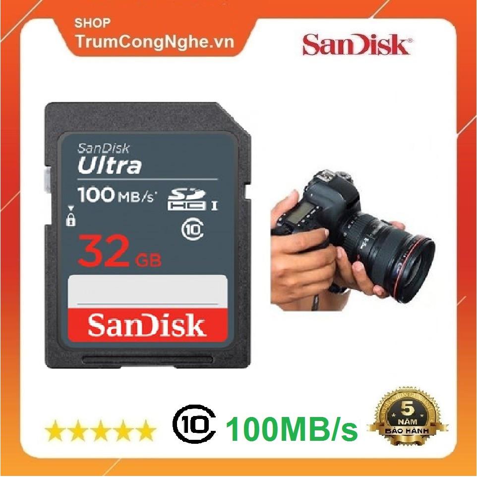 [Mã ELFLASH5 giảm 20K đơn 50K] Thẻ nhớ Máy Ảnh SD 32GB Sandisk Ultra Class 10 UHS-I upto 100MB/s (Xám)