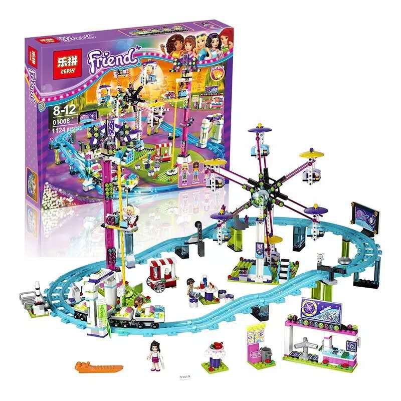 (có sẵn) bộ đồ chơi lắp ráp Lego Friends 41130 Công Viên Giải Trí, Tàu Lượn, Vòng Quay Mặt Trời Lepin 01008