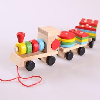 Đồ chơi xe lửa kéo hình khối bằng gỗ cho bé