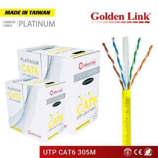 Cáp Mạng GOLDEN LINK Platinum UTP CAT 6 VÀNG GL01006 (305m) MADE IN TAIWAN thumbnail