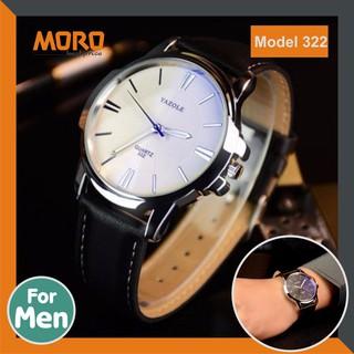 Đồng hồ nam Yazole 332 - dây da - mặt kính chịu lực