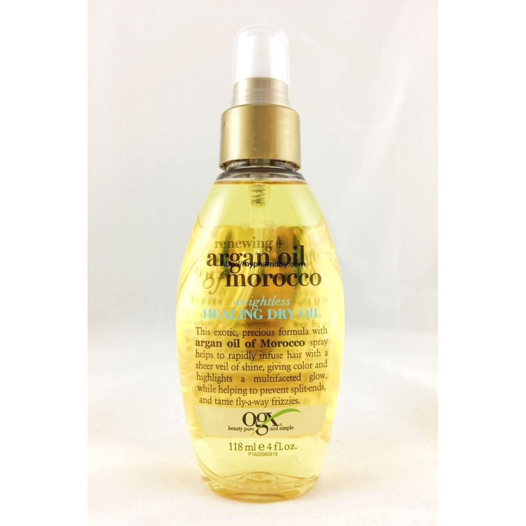 Xịt dưỡng tóc renewing + argan oil of morocco weightless healing dry oil ogx 118 ml - 4 fl oz