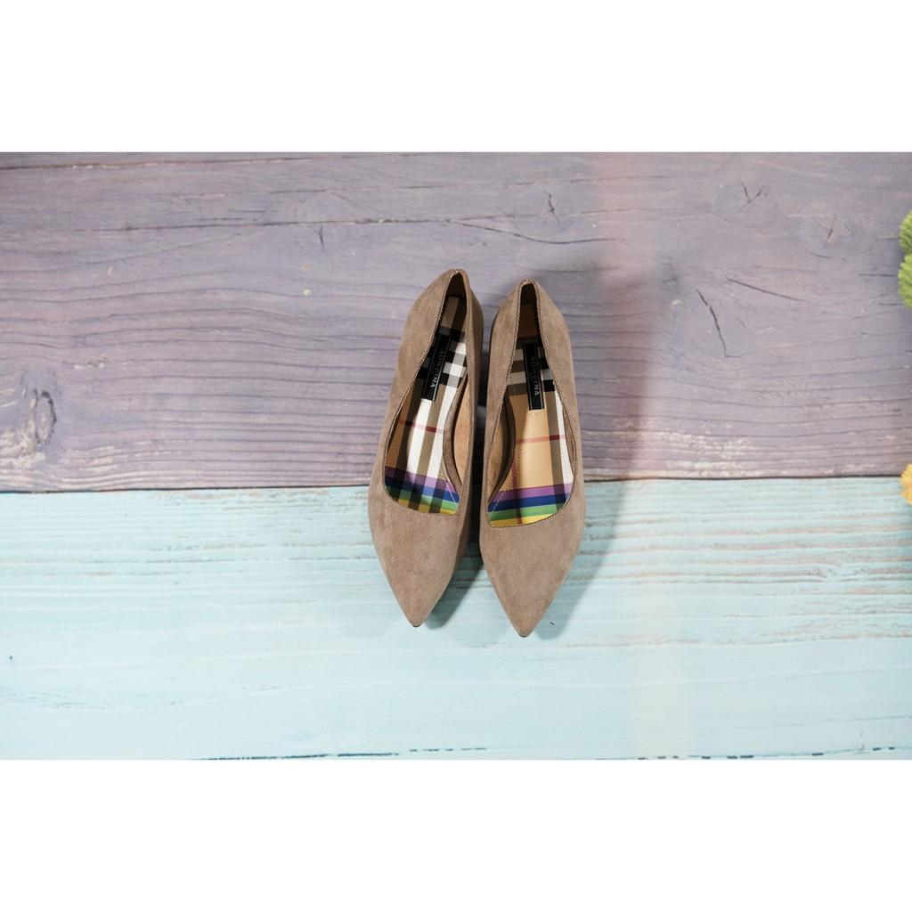 Giày cao gót mã 460, da lộn, dáng basic, cao 5cm màu nude