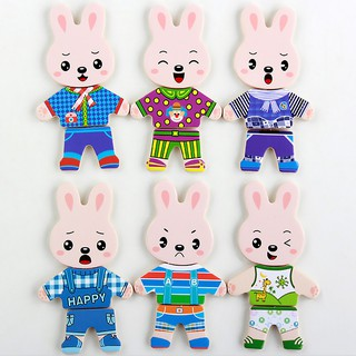 Kids Wooden Toy Rabbit Change Clothes Puzzles Earily Educational Dress Chan_FF86