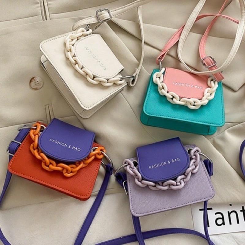 Túi đeo chéo nữ mini đẹp giá rẻ phối màu FSBAG DC69