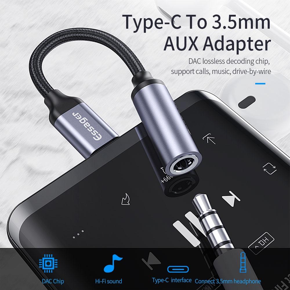 Bộ chuyển đổi tai nghe Essager AUX E01 đầu micro USB type C sang 3,5mm