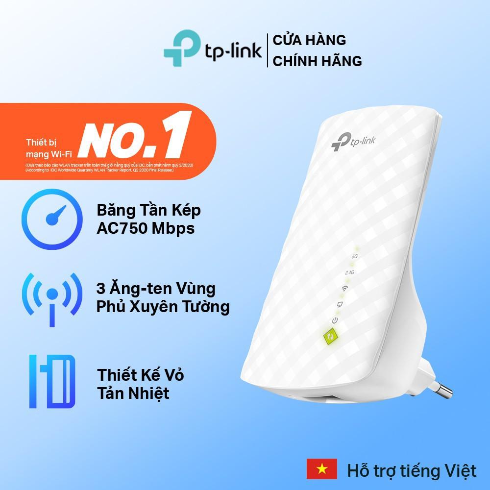Bộ Kích Sóng, Mở rộng sóng Wifi Repeater Băng Tần Kép AC750 TP-Link RE200 - Hàng Chính Hãng