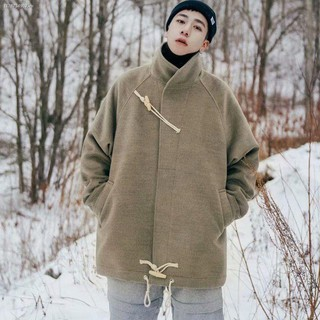 ✼Woolen coat men s short 2020 winter new Korean version of the trend student youth stand-up collar horn button