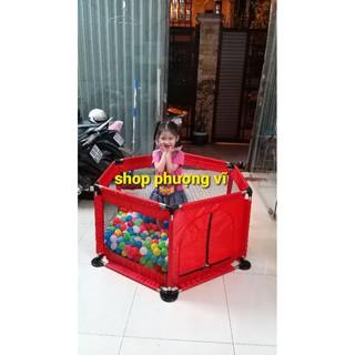 nhà bóng quây bóng khung inox size đại có tặng kèm 15 bóng nhựa 7 màu cho bé.