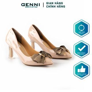 Giày cao gót da bóng nơ Ombre 7p GE273 - Genni
