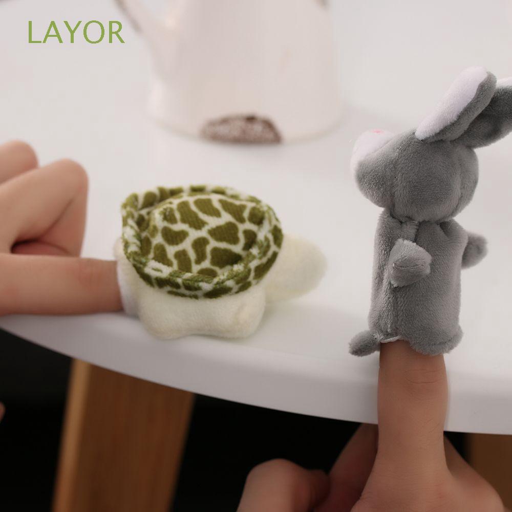 LAYOR 2PCS/Set Family Fashion Animals Short Educational Finger Puppets