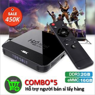 Combo 5 smart tivi box RAM 2G, Bộ nhớ 16G, tính năng tìm kiếm bằng giọng nói bảo hành 12 tháng COMBO5 H96MINIH8