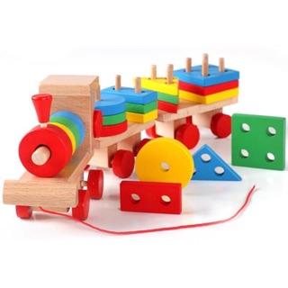 Đoàn tàu thả hình khối gỗ