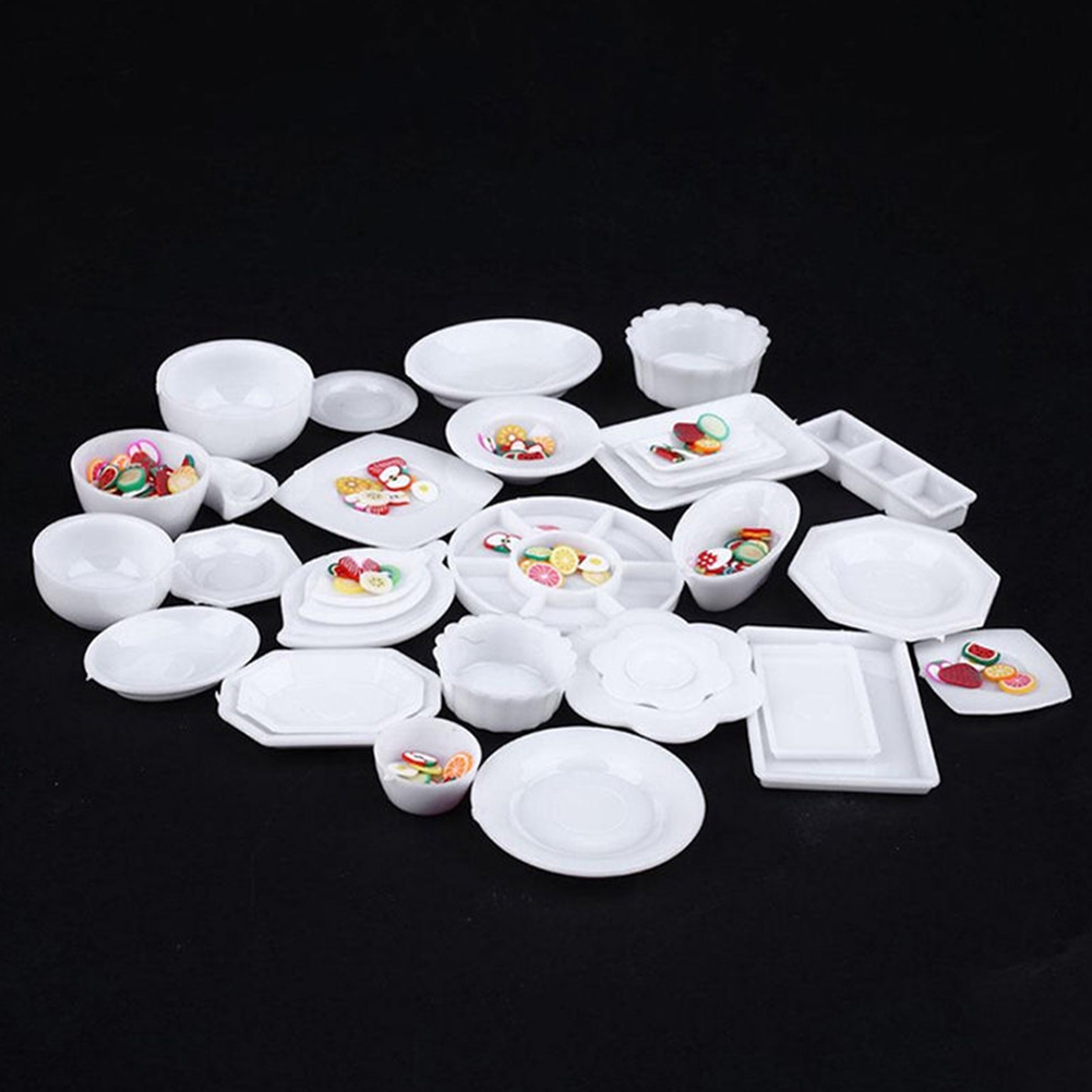 New 33Pcs Miniature Tableware Plastic Plate Dishes Set Mini Food the goods for kitchen
